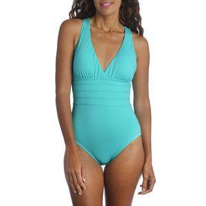LA BLANCA Cross Back Strappy One Piece Tummy Control Swimsuit Aquamarine 8 NEW